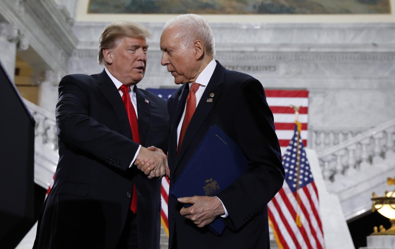 U.S. President Trump is greeted by Hatch at Utah State Capitol in Salt Lake City, Utah