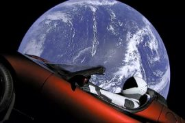 SpaceX launches Tesla into Space.
